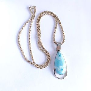 Jewelry - Large Sterling Silver Larimar Pendant Necklace